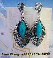 R12322-60 free shipping 12pairs/lot green  beautiful diamond drop earring plated antique silver earring eardrop jewelry