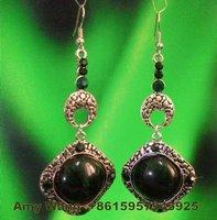 R12322-83 free shipping 12pairs/lot beautiful bottle green diamond drop earring plated antique silver earring eardrop jewelry