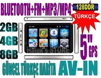 5 inc GPS 128MB Navigasyon+Bluetooth+FM+4GB+MP3/MP4+Foto+Oyun+WinCE 6.0 (FREE SHIPPING)