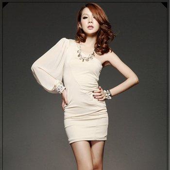 Shoulder Long Sleeve Dress on Dress One Shoulder Long Lantern Sleeve With Beading D8203 In Dresses