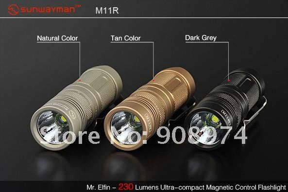 Sunwayman M11R CREE XM-L U2 LED Magnetic Control Flashlight ,desert Natural Natural Black tiny torch ,Three color options(China (Mainland))