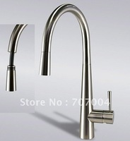 BRUSHED NICKEL WHOLESALE RATILE PACKING 360 Swivel pull out nozzle single lever Kitchen Faucet