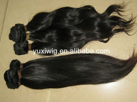 "active demand 16"" natural curl 1# single drawn machine weft virgin Malaysian hair(China (Mainland))"
