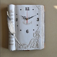 EMS free shipping wholesale and retail new disign bible book shape quiet quartz wall clock/ gift clock