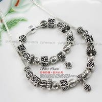 Free Fast Shipping European Style Silver Pan Charm bracelet&necklace With Murano Glass Beads jewelry sets for wedding PA0075