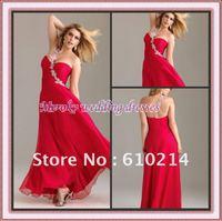 Appliqued One-shoulder A-line Chiffon Prom Dress Plus Size Gown
