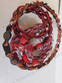 2012 free shipping new energy Titanium US Football Tornado Necklaces Alabama Crimson Tide  Auburn Tigers   2 3 ropes Necklaces