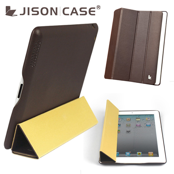 Jisoncase magnet smart cover genuine leather case for ipad 2 ultra thin case for ipad high quality retail free shipping