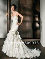 2012A+++New Arrive Mermaid Chiffon and Satin Beading Flowers Decorated Detachable Wedding Dress