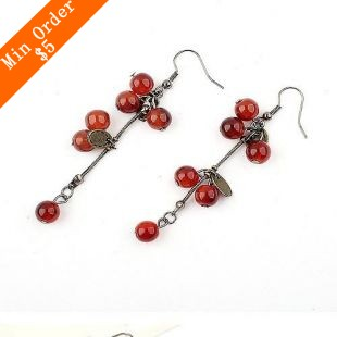 Min.order is $15 (mix order) Free Shipping Cherry Drop Earrings,Popular Vintage Style,Trendy Costume Jewelry E221(China (Mainland))