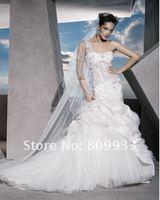 2012A+++New Arrive Sweetheart Beading Sheath One Shoulder Chiffon and Satin Wedding Dress