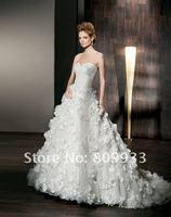 2012A+++New Arrive A-line Sweetheart Silk Taffeta with Flowers Wedding Dress