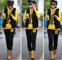 высокое качество Микки mouseleisure руно утолщение Толстовки twinset женщин школа носить длинный рукав верхней одежды черный/серый