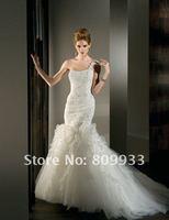 2012A+++New Arrive Mermaid Beading One Shoulder Organza Wedding Dress