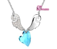 Free Shipping & Gift Bag, Wholesale classic Crystal Cupid Love Necklace/Crystal jewelry/Evening dress/Wedding dress/NO.5165Q