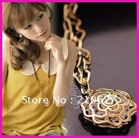 Aliexpress 18KGP N12861 Fashion Jewelry,18K Gold Plated Necklace Gold rose semi-precious Stone sweater necklace chain