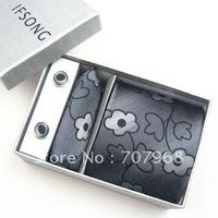 Dark grey comic flowers tie gift sets