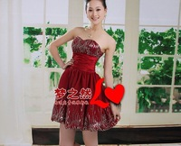 Free shipping   bridesmaid knee length dresses junior bridesmaid dresses  bridesmaid dress short