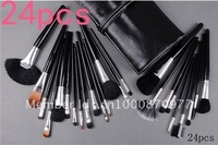 (Free shipping ems/dhl 10sets/lot Promotional Sale!) 24pcs Makeup Brush with number Leather Case+top quailty