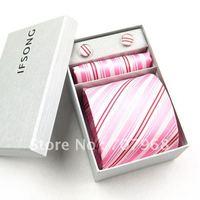 Pink stripe tie box set