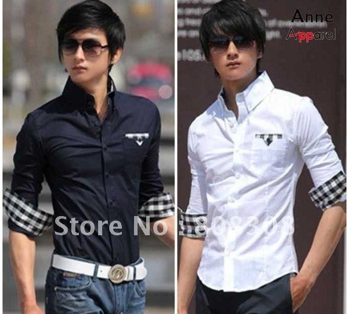 Plaid shirt Black white lattice decorative cuffs New Men s Noble Luxury Stylish Dress Shirts Slim - Dress Of 26th May 2013