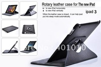 free shipping by air mail New 360 degree rotating smart leather cover case for apple ipad 3 667