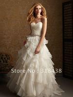 Free shipping QW-19 Elegant A-line Sweetheart Sleeveless Beaed Ruffle Organza Write/Ivory Wedding Dress Custom-made