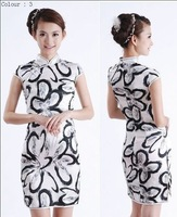 Китайский традиционный халат Qipao White Women's Cheong-sam New White Chinese Evening Dress and Retail Size S M L XL XXL