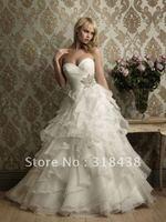 Free shipping QW-18 Elegant Sweetheart Sleeveless Beaed Ruffle Organza Write/Ivory Wedding Dress Custom-made