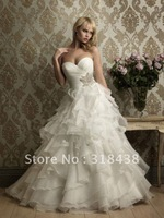 New Design QW-18 Elegant Sweetheart Sleeveless Beaed Ruffle Organza White/Ivory Wedding Dress VESTIDO DE NOIVA