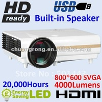 4000lumens Native 800x600 Video LCD LED Projector HDMI USB VGA Speaker