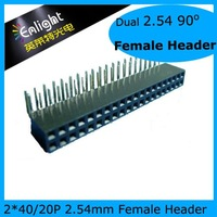 2.54mm Female Header, Dual Row, 2*40P 90o 20pcs/lot Free Shipping