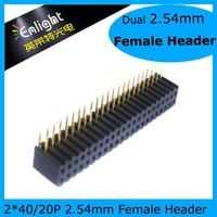 2.54mm Female Header, Dual Row, 2*20P 90o 20pcs/lot Free Shipping