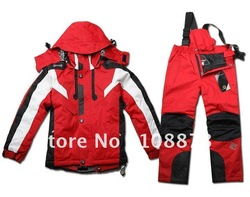 Branded kids wear winter ski snowboard jacket and pants outdoor suit S034(China (Mainland))