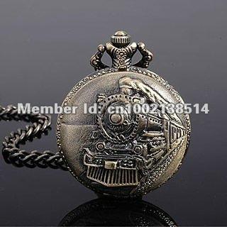 Classical Railroad Steam Train Quartz Men Pocket Watch W/Chain Nice Gift Wholesale Price H006