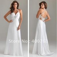 A-line Open Back Sequin Detail Chiffon Long Cheap White Prom Dresses