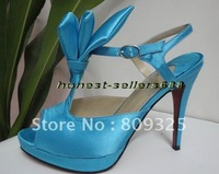free shipping brand new women's shoes blue satin Women's high heel shoes, pumps shoes