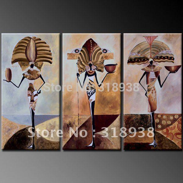 Met de hand geschilderd op doek ingelijste abstracte figuur