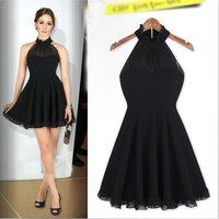 Europe Womens Fashion Elegant Halter Black Casual Dress E2905
