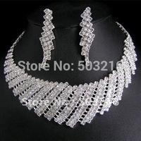High Quality Clear Crystal Silver Plated Promotion Rhinestone Bridal Wedding Jewelry Set