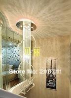 Free Shipping! Hot sale! Modern crystal chandelier light crystal stairs chandelier lamp,D500*H1800mm