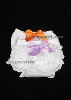 Girls baby bloomers summer, baby shorts, Baby Diaper Cover shorts purle orange bows PPET0162