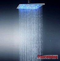 Faucetqing 040185  10 Inch Chromed Brass Square LED Rainfall Shower Head
