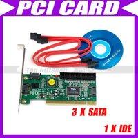3 PORT SATA SERIAL ATA + 1 IDE VIA 6421A PCI CARD #0003