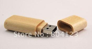 Guaranteed Full Capacity Bamboo Rounded Shell Thumbdrive 32GB USB Flash Memory Pen Drive Disk  Hot sell