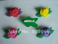 OEM customized logo Rose flower shape 3D soft pvc Pin soft rubber badge delivery at random
