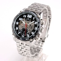 Lots Buy Luxury Black Face All-number Mechanical Watch Men Mech St'l Husband Gift NT7355