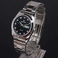 Bulk 6pcs for Retailer Black Face Crystal Day Date Stainless Steel Men Watch Stl Quartz NT7036