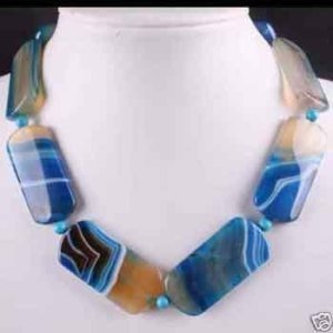 Charming FANCY big BLUE Agate jade necklace Fashion