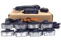 Police Fire Engineering Emergency CAR 2x 8 LED 1W STROBE GRILL LIGHT J1T8-6